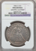 Seated Dollars: , 1846-O $1 -- Cleaned, Graffiti -- NGC Details. Fine. NGC Census:(2/144). PCGS Population (3/238). Mintage: 59,000. Numisme...