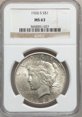 Peace Dollars: , 1926-S $1 MS63 NGC. NGC Census: (1468/2182). PCGS Population(2235/2676). Mintage: 6,980,000. Numismedia Wsl. Price for pro...