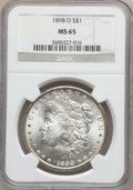 Morgan Dollars: , 1898-O $1 MS65 NGC. NGC Census: (12153/2031). PCGS Population(11073/1997). Mintage: 4,440,000. Numismedia Wsl. Price for p...