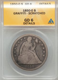 Seated Dollars: , 1850-O $1 -- Graffiti, Scratched -- ANACS. GD6 Details. NGC Census:(1/123). PCGS Population (4/161). Mintage: 40,000. Numi...