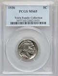 Buffalo Nickels: , 1936 5C MS65 PCGS. Ex: Teich Family Collection. PCGS Population(2139/1239). NGC Census: (911/1115). Mintage: 119,001,424. ...