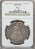 Seated Dollars: , 1870 $1 Good 6 NGC. NGC Census: (2/177). PCGS Population (3/265).Mintage: 415,000. Numismedia Wsl. Price for problem free ...