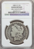 Morgan Dollars: , 1880-CC $1 -- Obv Scratched -- NGC Details. Good. NGC Census:(16/8150). PCGS Population (15/12102). Mintage: 591,000. Numi...