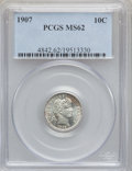 Barber Dimes: , 1907 10C MS62 PCGS. PCGS Population (72/283). NGC Census: (42/270).Mintage: 22,220,576. Numismedia Wsl. Price for problem ...