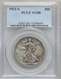 Walking Liberty Half Dollars: , 1921-S 50C VG8 PCGS. PCGS Population (199/1080). NGC Census:(88/627). Mintage: 548,000. Numismedia Wsl. Price for problem ...