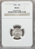 Seated Dimes: , 1891 10C MS63 NGC. NGC Census: (159/476). PCGS Population(178/398). Mintage: 15,310,600. Numismedia Wsl. Price forproblem...