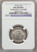 Standing Liberty Quarters: , 1918-S 25C -- Improperly Cleaned -- NGC Details. UNC. NGC Census:(2/449). PCGS Population (8/494). Mintage: 11,072,000. Nu...