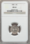 Seated Dimes: , 1883 10C MS62 NGC. NGC Census: (42/320). PCGS Population (61/364).Mintage: 7,674,673. Numismedia Wsl. Price for problem fr...