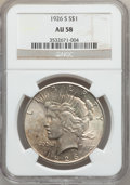 Peace Dollars: , 1926-S $1 AU58 NGC. NGC Census: (266/4630). PCGS Population(336/6060). Mintage: 6,980,000. Numismedia Wsl. Price for probl...