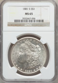 Morgan Dollars: , 1881-S $1 MS65 NGC. NGC Census: (50076/20426). PCGS Population(47555/13727). Mintage: 12,760,000. Numismedia Wsl. Price fo...