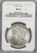 Morgan Dollars: , 1902-O $1 MS65 NGC. NGC Census: (6313/556). PCGS Population(4081/504). Mintage: 8,636,000. Numismedia Wsl. Price for probl...