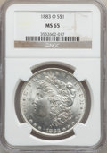 Morgan Dollars: , 1883-O $1 MS65 NGC. NGC Census: (9658/1031). PCGS Population(7220/723). Mintage: 8,725,000. Numismedia Wsl. Price for prob...