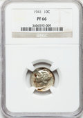 Proof Mercury Dimes: , 1941 10C PR66 NGC. NGC Census: (995/419). PCGS Population(1050/299). Mintage: 16,557. Numismedia Wsl. Price for problemfr...