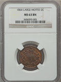 Two Cent Pieces: , 1864 2C Large Motto MS63 Brown NGC. NGC Census: (373/711). PCGSPopulation (323/328). Mintage: 19,847,500. Numismedia Wsl. ...