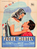 "Movie Posters:Film Noir, Leave Her to Heaven (20th Century Fox, 1947). Printer's ProofFrench Grande (47"" X 63"").. ..."