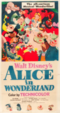 "Movie Posters:Animation, Alice in Wonderland (RKO, 1951). Three Sheet (41"" X 77"").. ..."