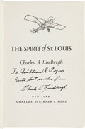 Autographs:Celebrities, Charles Lindbergh: The Spirit of St. Louis Book Signed toand Directly from the Personal Collection of Astrona...