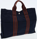Luxury Accessories:Bags, Hermes Navy and Brown Canvas Fourre Tout MM Tote Bag. ...