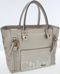 Luxury Accessories:Bags, Chloe Silver Leather Eclipse Shoulder Tote Bag. ...