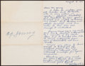 Baseball Collectibles:Others, 1954 Cy Young Signed Letter....