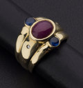 Estate Jewelry:Rings, Cabochon Ruby & Sapphires Diamond Gold Ring. ...