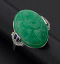 Estate Jewelry:Rings, Green Carved Jade & Gold Ring. ...