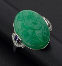 Green Carved Jade & Gold Ring