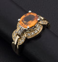 Estate Jewelry:Rings, Mandarin Garnet & Diamond Gold Ring. ...