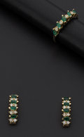 Estate Jewelry:Coin Jewelry and Suites, Emerald & Diamond Gold Ring & Earring Set. ...