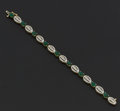 Estate Jewelry:Bracelets, Fine Emerald & Diamond Gold Bracelet. ...