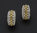 Estate Jewelry:Earrings, Diamond Omega Back Gold Earrings. ...