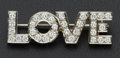 "Estate Jewelry:Brooches - Pins, ""Love"" Diamond & Gold Pin. ..."