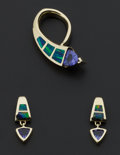 Estate Jewelry:Coin Jewelry and Suites, Tanzanite & Inlaid Opal Slide & Earring Set. ... (Total: 2 Items)