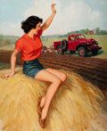 Pin-up and Glamour Art, WALT OTTO (American, 1895-1963). Waving to the Tractor. Oilon canvas. 38 x 31 in.. Signed lower right. ...