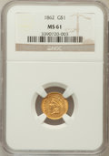 Gold Dollars: , 1862 G$1 MS61 NGC. NGC Census: (611/1820). PCGS Population(237/1430). Mintage: 1,361,390. Numismedia Wsl. Price for proble...