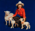 Paintings, MAYO OLMSTEAD (American, 1925-2004). The Growing Family, calendar illustration. Oil on canvas board. 26 x 29 in.. Signed...