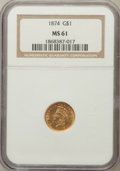 Gold Dollars: , 1874 G$1 MS61 NGC. NGC Census: (610/2710). PCGS Population(319/2313). Mintage: 198,820. Numismedia Wsl. Price for problem ...