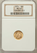 Gold Dollars: , 1874 G$1 MS62 NGC. NGC Census: (1235/1475). PCGS Population(827/1486). Mintage: 198,820. Numismedia Wsl. Price for problem...