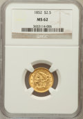 Liberty Quarter Eagles: , 1852 $2 1/2 MS62 NGC. NGC Census: (238/153). PCGS Population(107/125). Mintage: 1,159,681. Numismedia Wsl. Price for probl...