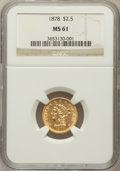 Liberty Quarter Eagles: , 1878 $2 1/2 MS61 NGC. NGC Census: (476/1047). PCGS Population(146/807). Mintage: 286,260. Numismedia Wsl. Price for proble...