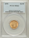 Liberty Quarter Eagles: , 1878 $2 1/2 MS62 PCGS. PCGS Population (364/443). NGC Census:(611/436). Mintage: 286,260. Numismedia Wsl. Price for proble...