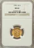 Liberty Quarter Eagles: , 1905 $2 1/2 MS62 NGC. NGC Census: (1447/3774). PCGS Population(1174/3743). Mintage: 217,800. Numismedia Wsl. Price for pro...