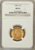 Liberty Half Eagles: , 1886-S $5 MS62 NGC. NGC Census: (3083/1524). PCGS Population(1478/1033). Mintage: 3,268,000. Numismedia Wsl. Price for pro...