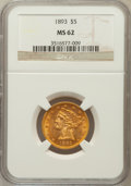 Liberty Half Eagles: , 1893 $5 MS62 NGC. NGC Census: (2581/2103). PCGS Population(1168/970). Mintage: 1,528,197. Numismedia Wsl. Price for proble...