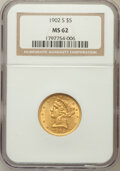 Liberty Half Eagles: , 1902-S $5 MS62 NGC. NGC Census: (633/1176). PCGS Population(525/1212). Mintage: 939,000. Numismedia Wsl. Price for problem...