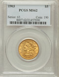 Liberty Half Eagles: , 1903 $5 MS62 PCGS. PCGS Population (328/323). NGC Census:(690/378). Mintage: 226,800. Numismedia Wsl. Price for problemfr...