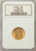Liberty Half Eagles: , 1904 $5 MS62 NGC. NGC Census: (1399/1215). PCGS Population(801/863). Mintage: 392,000. Numismedia Wsl. Price for problem f...
