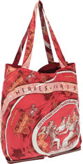 "Luxury Accessories:Bags, Hermes Rouge H Chevre Leather and Red & White ""Jeu des Omnibuset Dames Blaches,"" by Hugo Grygkar Silky Pop Tote Bag. ..."