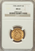 Liberty Half Eagles: , 1908 $5 MS61 NGC. NGC Census: (953/4622). PCGS Population(479/3792). Mintage: 421,874. Numismedia Wsl. Price for problemf...