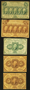 Fractional Currency:First Issue, Two Fr. 1230 5¢ First Issue Notes Fine or Better;. Fr. 1242 10¢ First Issue Very Fine;. Fr. 1281 25¢ First Issue Very ... (Total: 5 notes)